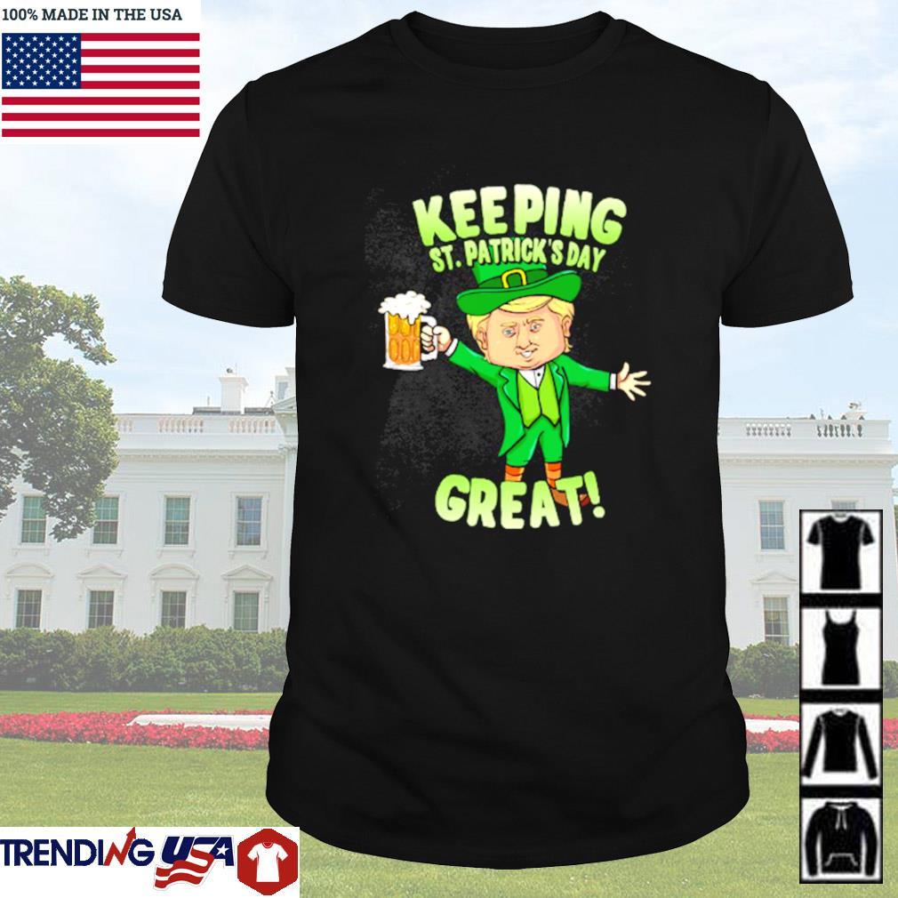 Leprechaun drink beer keeping St. Patrick's day great shirt
