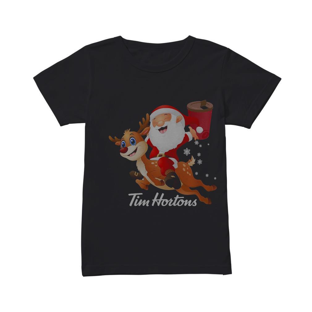 Santa Claus riding reindeer Tim Hortons shirt
