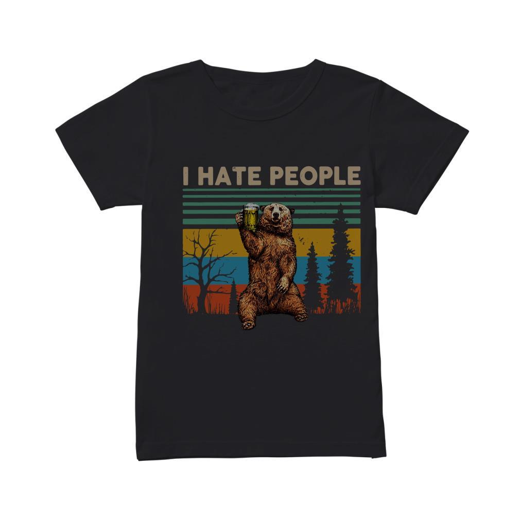 Vintage Camping Bear I Hate People Shirt