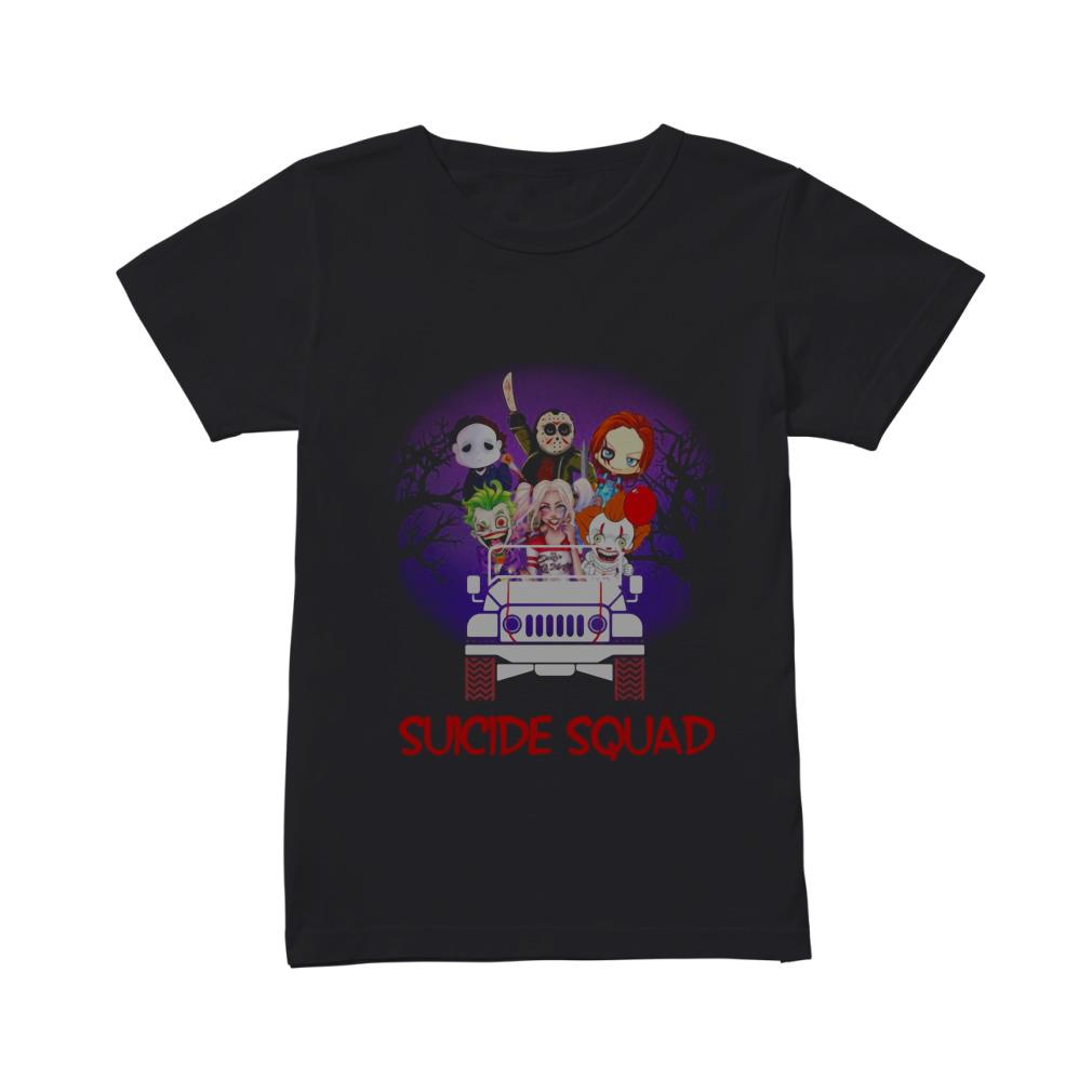 Horror characters riding car Suicide Squad shirt