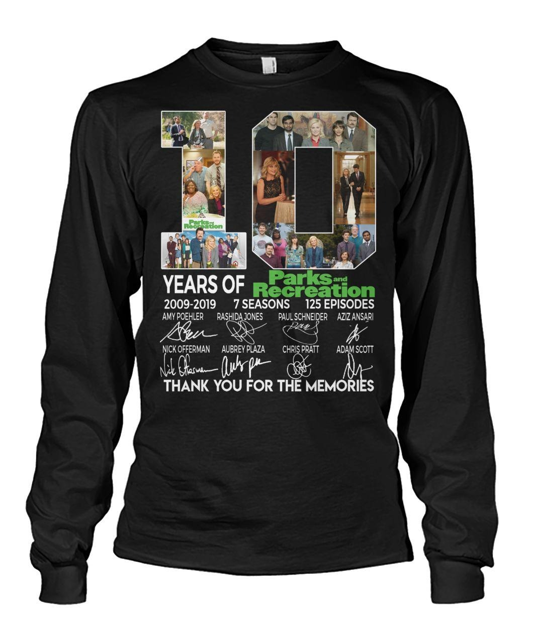 10 Years of Parks and Recreation 2009-2019 7 seasons 125 episodes signatures shirt
