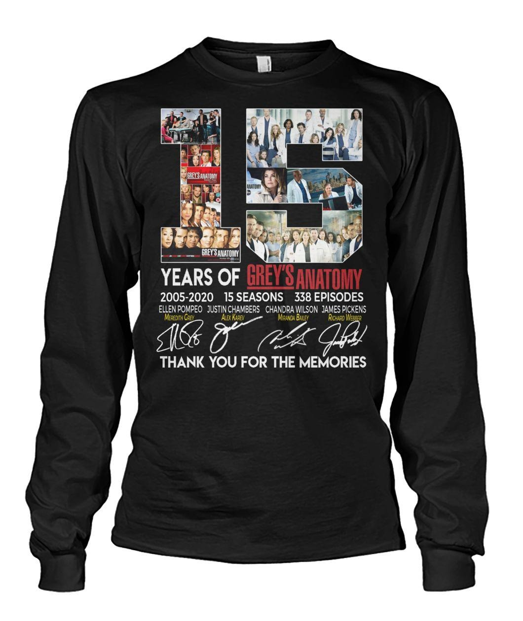 15 Years of Grey's Anatomy 2005-2020 15 seasons 338 episodes shirt