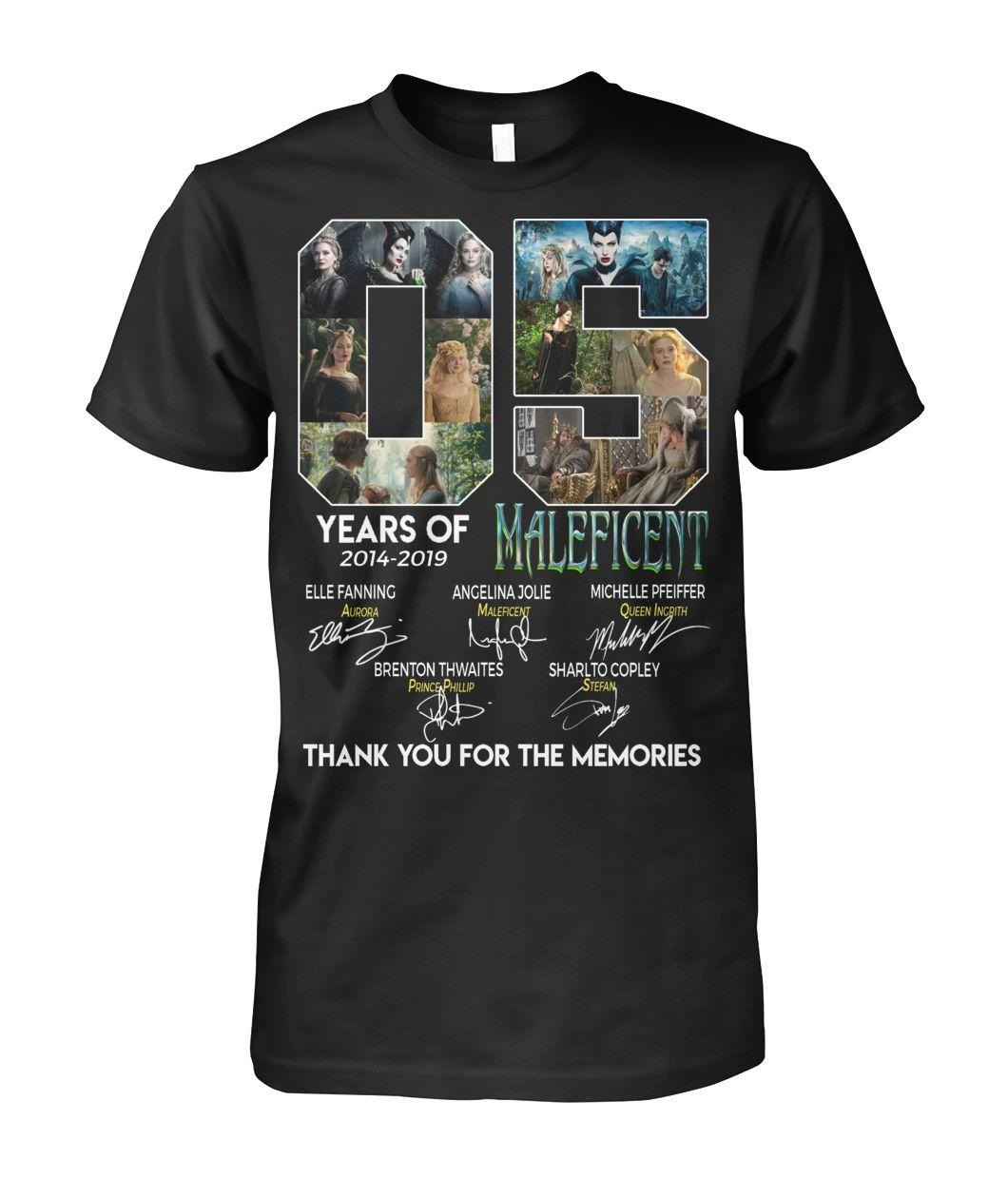 5 Years of Maleficent 2014-2019 15 signatures thank you for the memories shirt