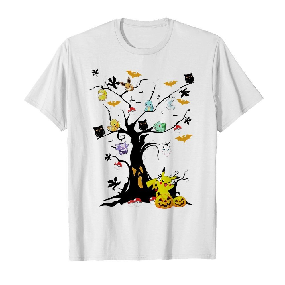Halloween Tree Pikachu Pokemon Owls And Bats shirt