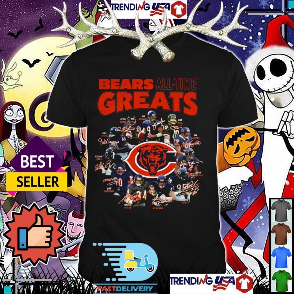 Chicago Bears all time greats team players signatures shirt