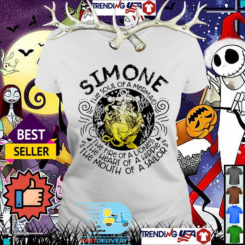 Simone the soul of a mermaid the fire of a lioness the heart of a hippie Ladies Tee