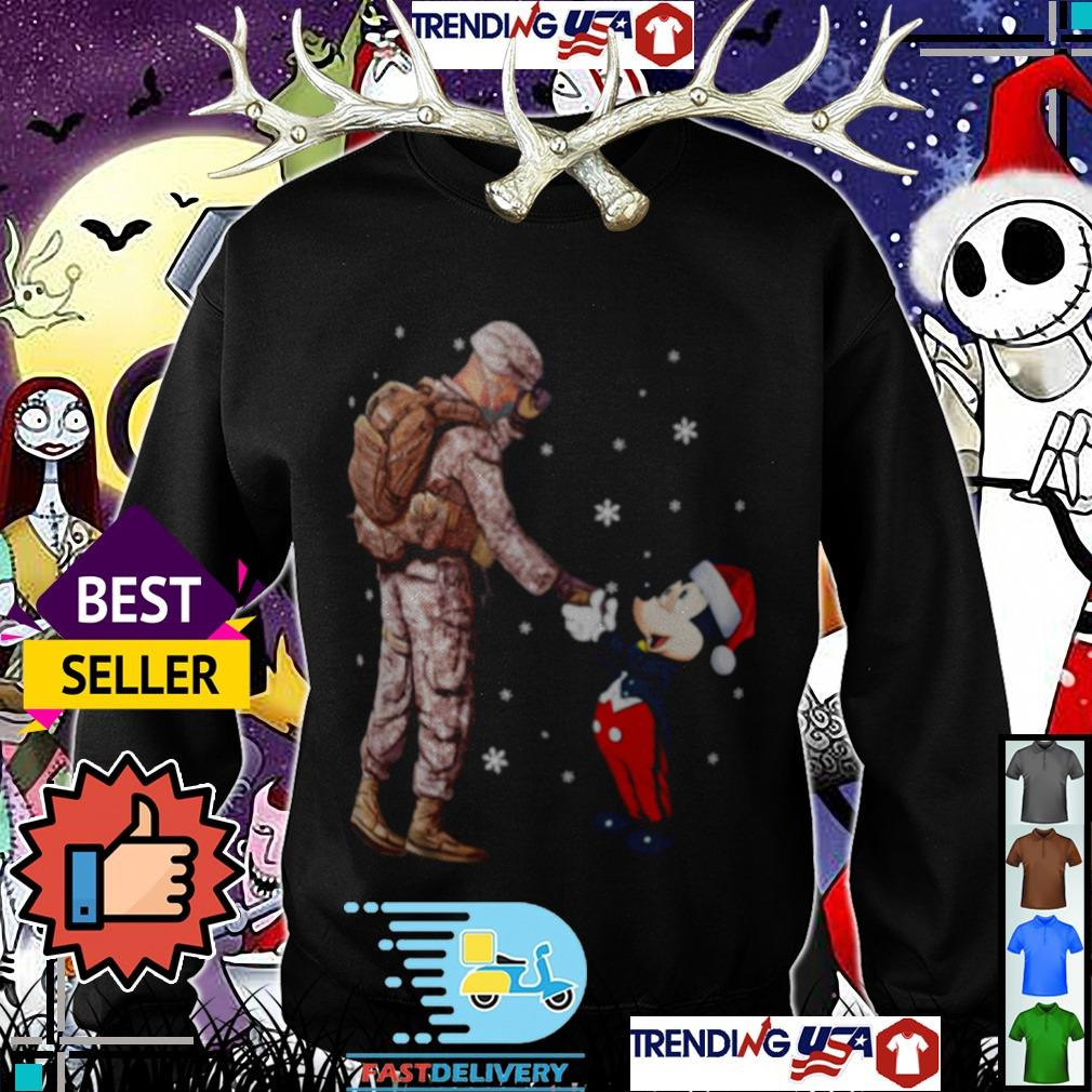 Army Soldier and Mickey Mouse shaking hands shirt
