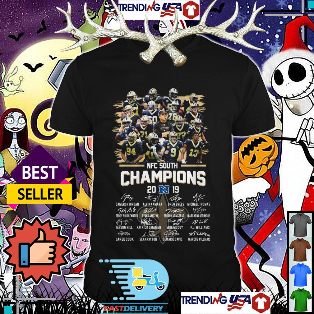 New Orleans Saint NFC South Champions 2019 team players signatures shirt