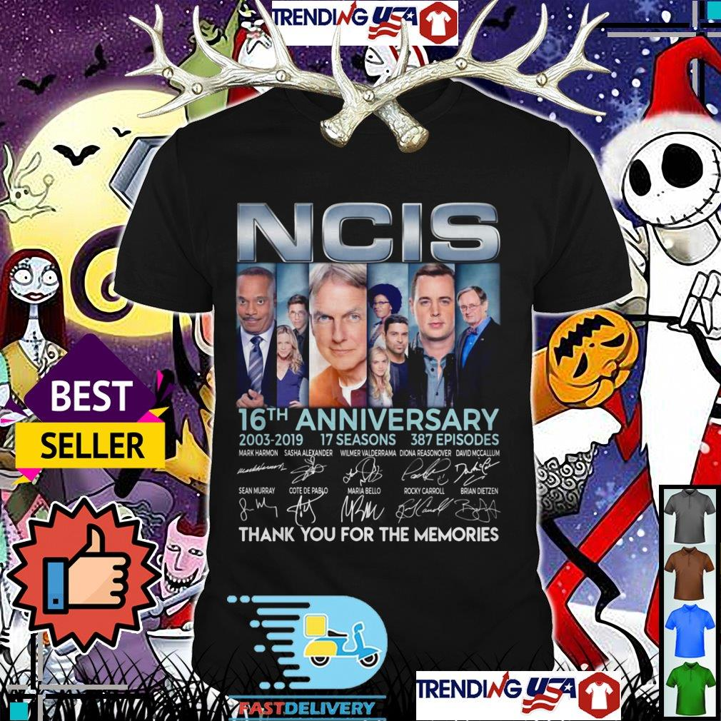 NCIS 16th anniversary 2003 2019 17 seasons 387 episodes thank you for the memories signatures shirt