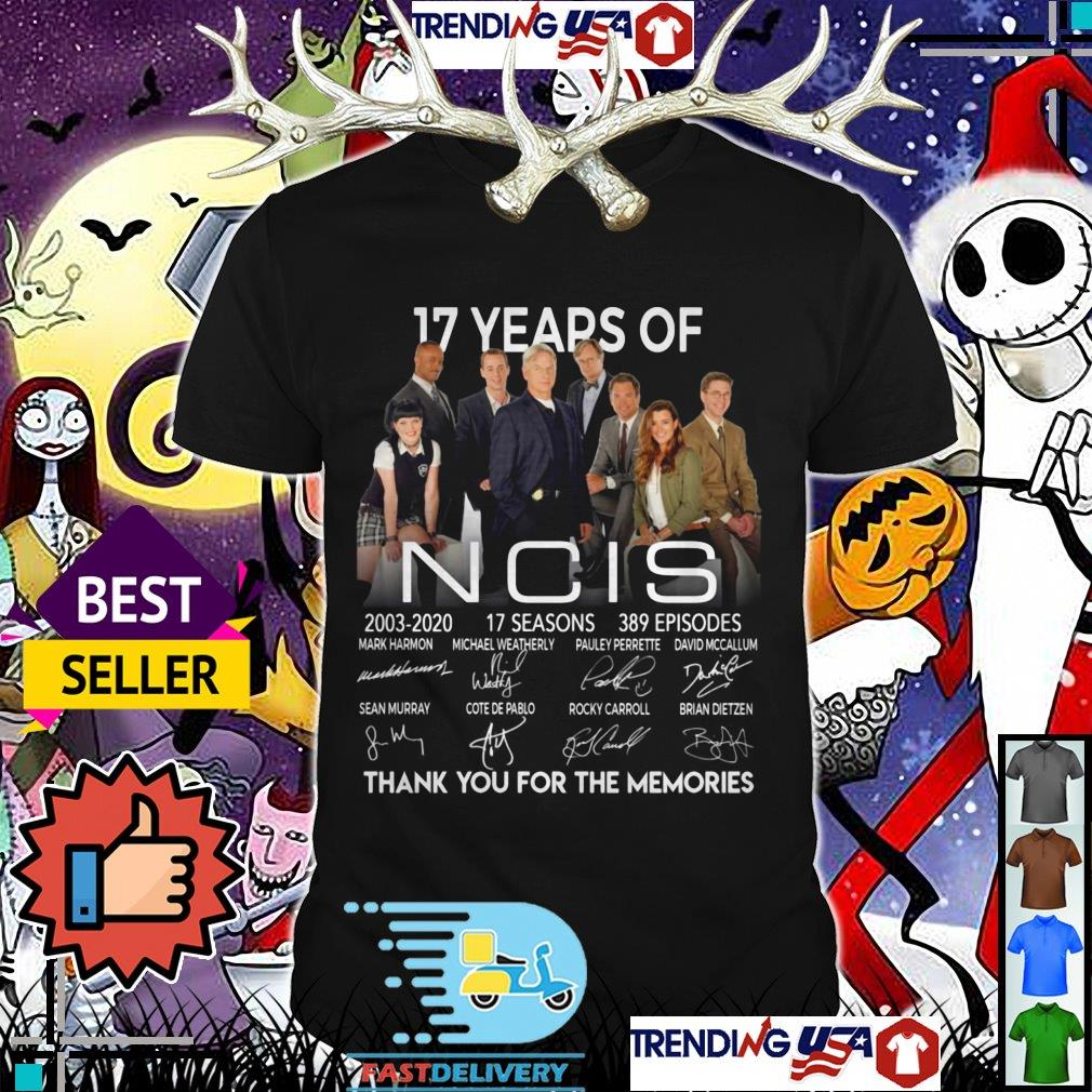 17 years of NCIS 2003 2020 17 seasons 389 episodes thank you for the memories signatures shirt