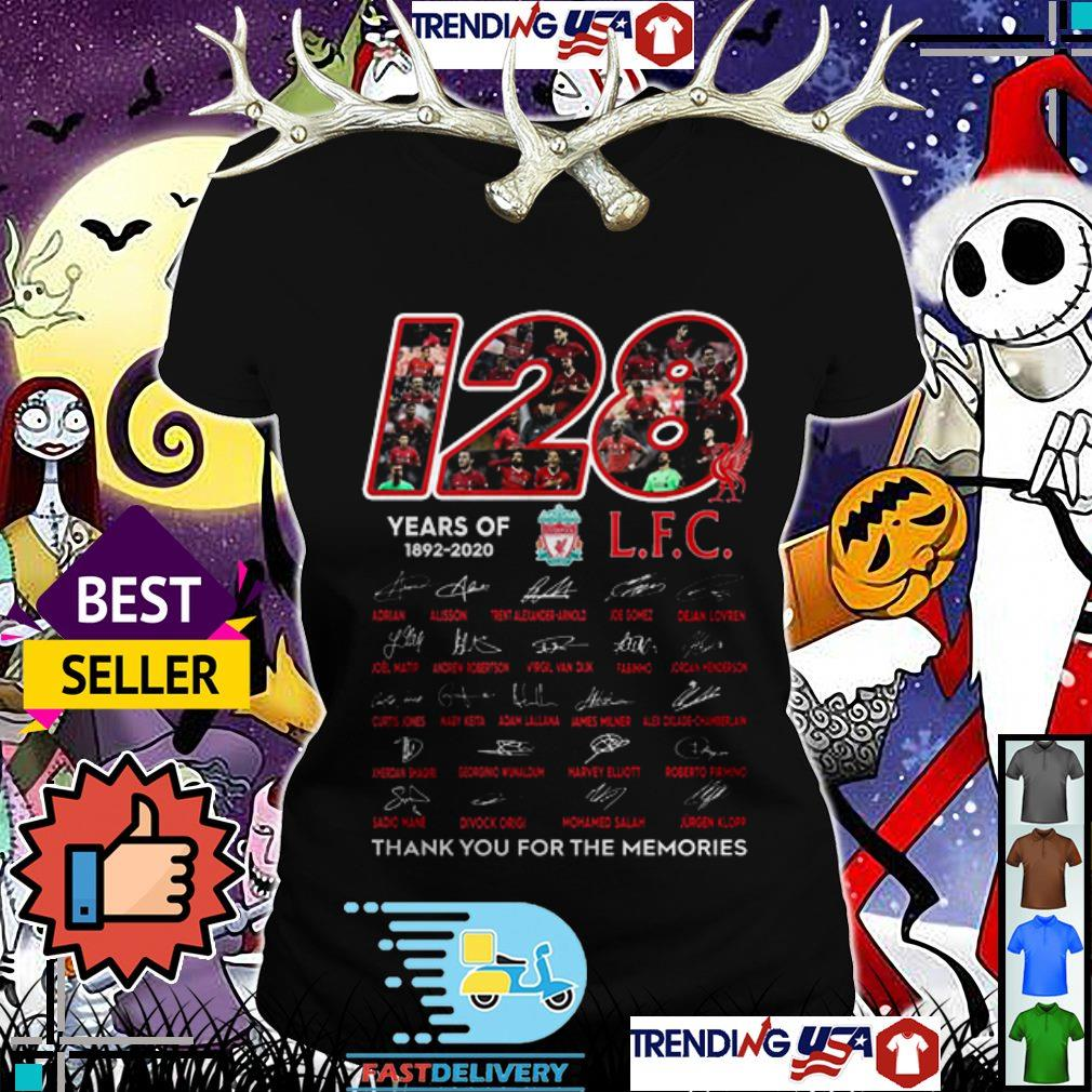 120 Years of Livepool FC 1892-2020 thank you for the memories signatures Ladies Tee