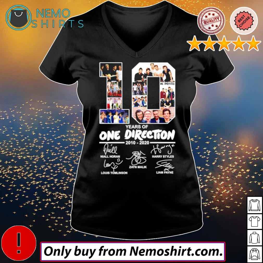 10 Years of One Direction 2010-2020 all members signatures s V-neck Ladies Black