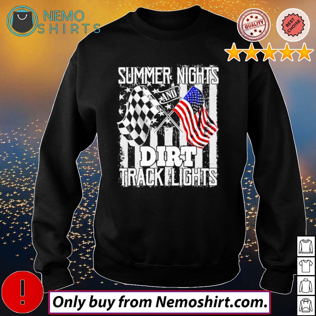 American and Racing Flag Summer Nights and Dirt Track Lights s Sweatshirt Black
