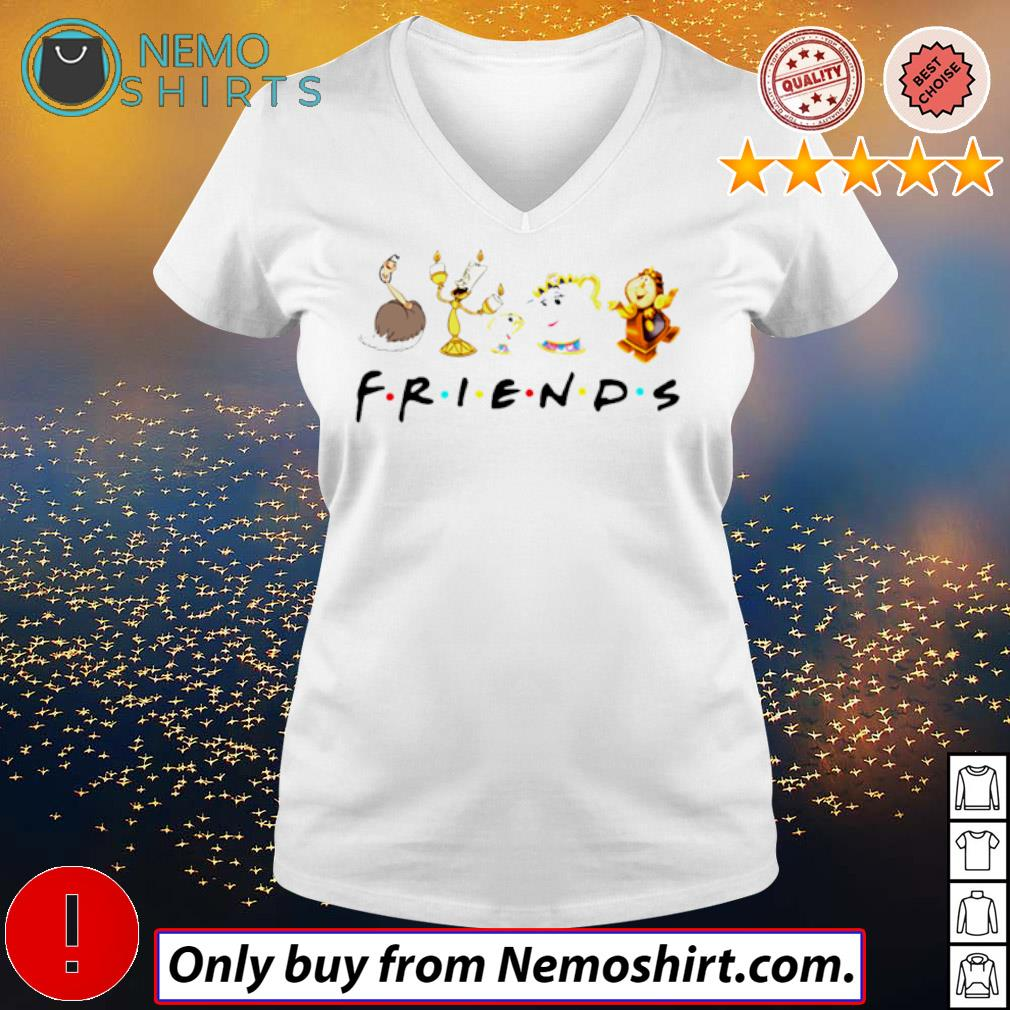 Disney Beauty and the beast friends s V-neck white