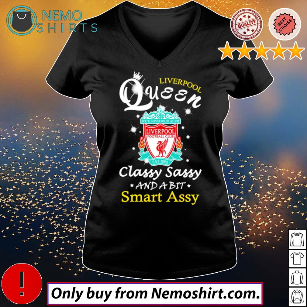 Football Club Liverpool Queen classy sassy and a bit smart assy s V-neck Ladies Black