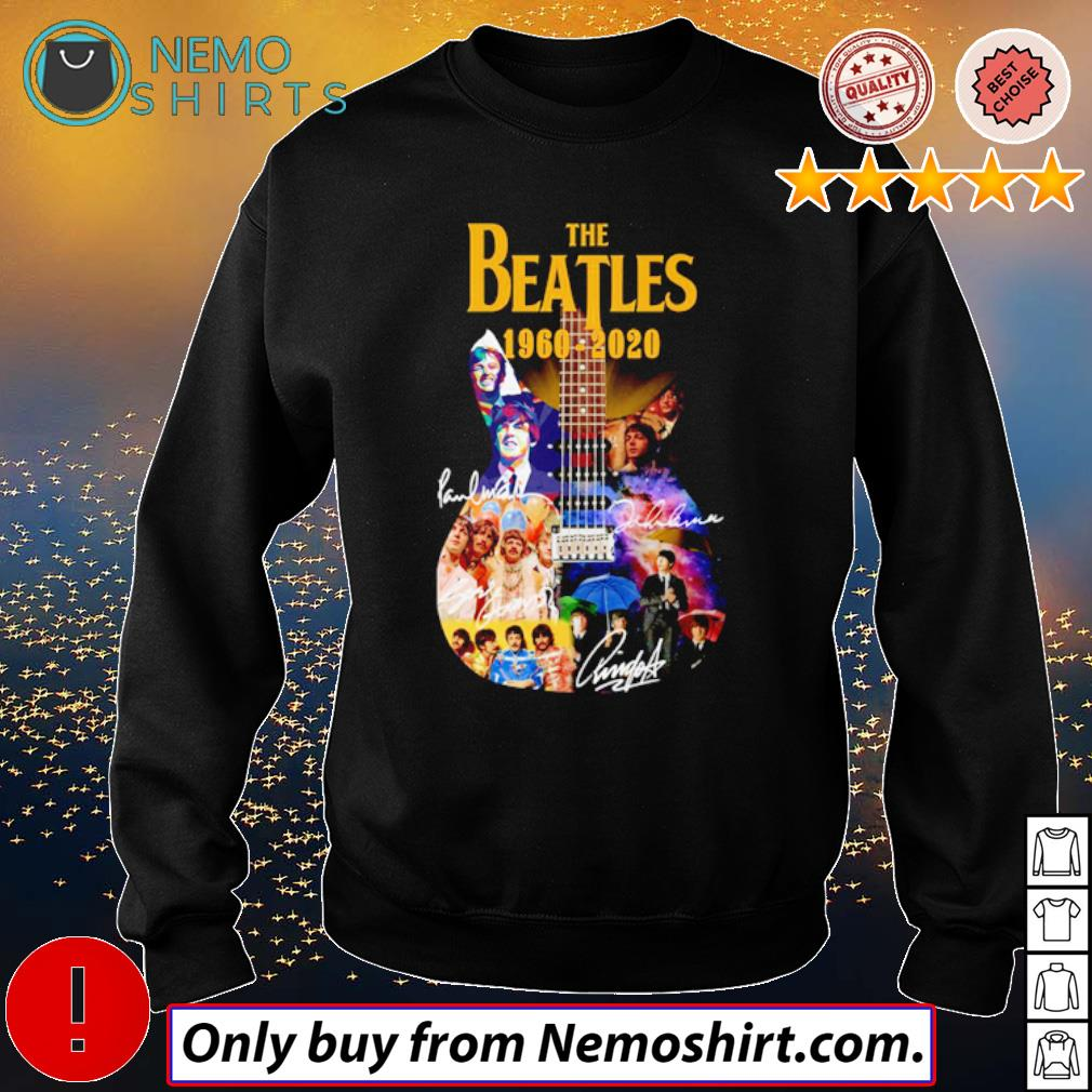 Guitar The Beatles band 1960-2020 signatures s Sweatshirt Black