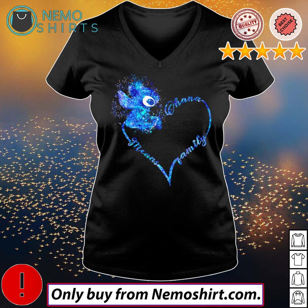 Heart Disney Stitch Ohana means family s V-neck Ladies Black