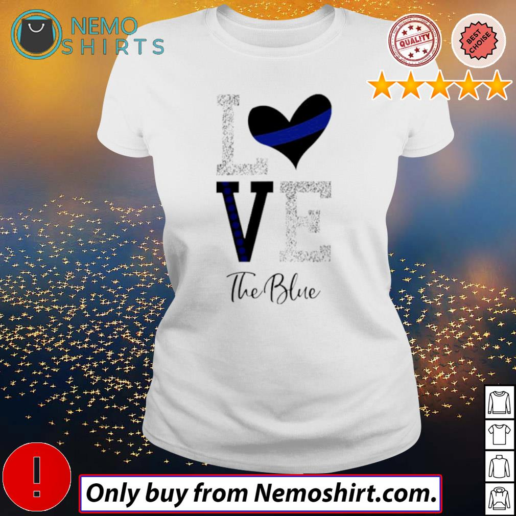 Heart Love the blue s Ladies white