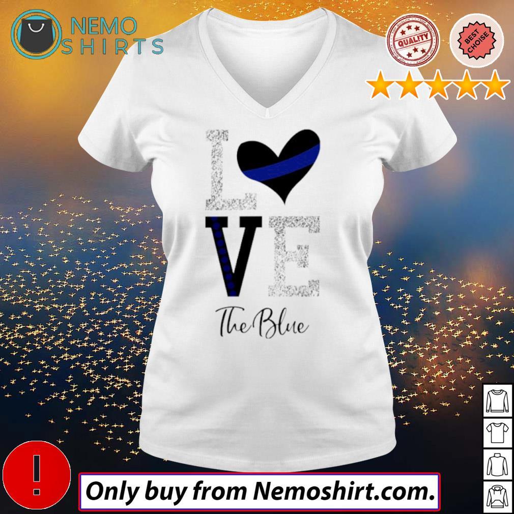 Heart Love the blue s V-neck white