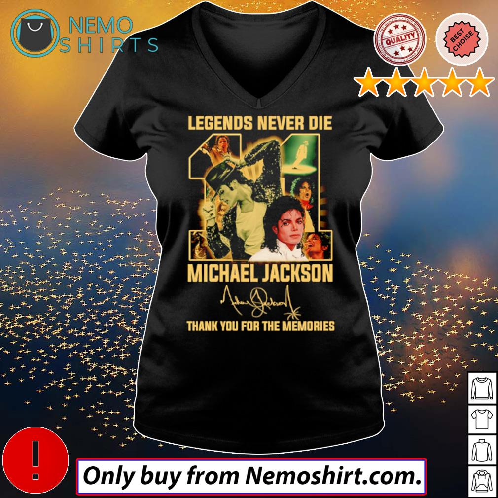 Legend never die 11 years of Michael Jackson signature s V-neck Ladies Black