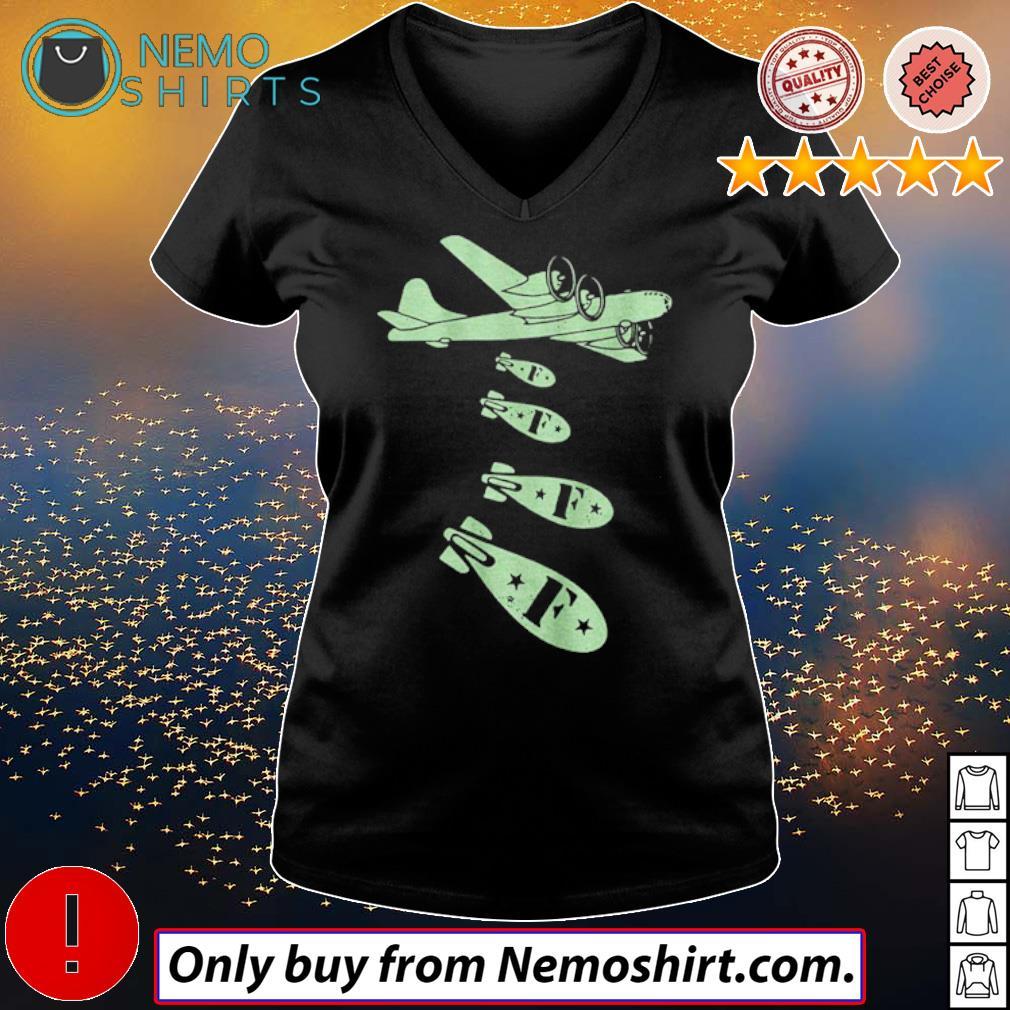 Plane dropping F-bombs s V-neck Ladies Black
