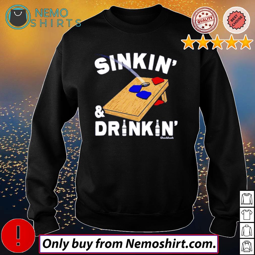 Sinkin' and Drinkin' Cornhole s Sweatshirt Black