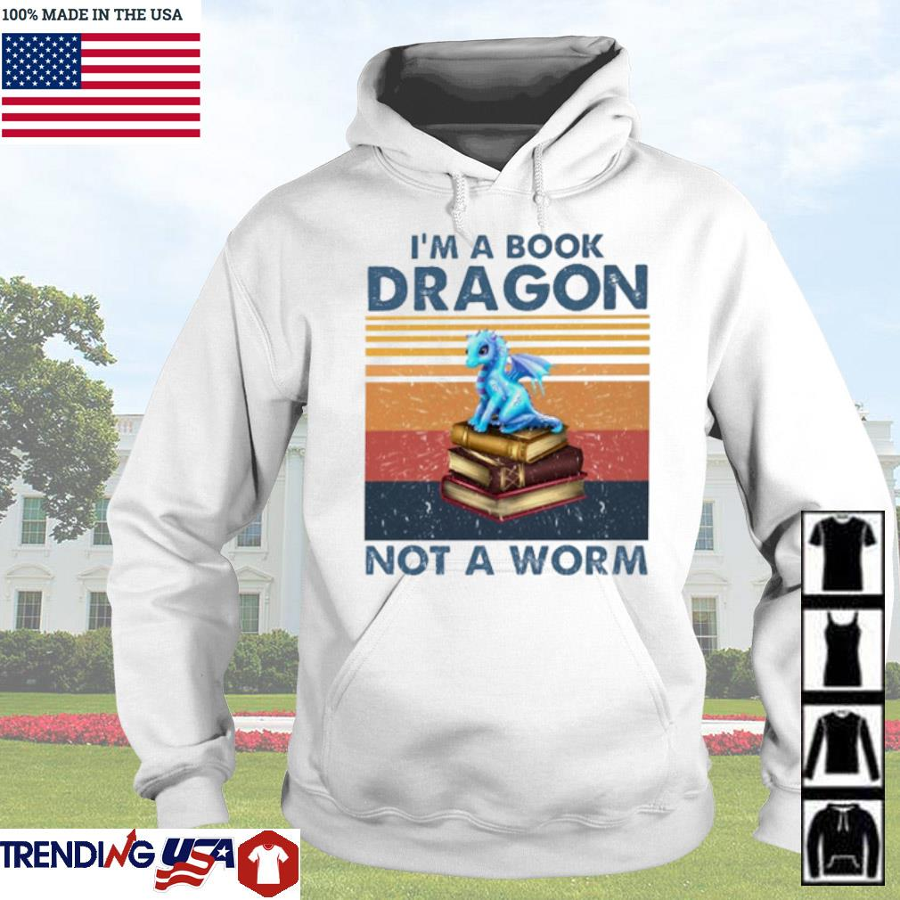 Vintage Blue dragon I'm a book dragon not a worm s Hoodie White