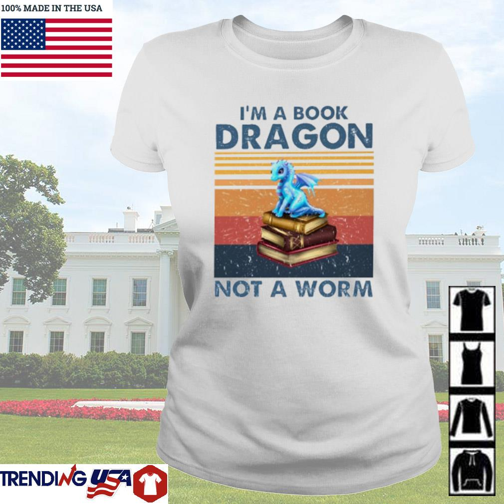 Vintage Blue dragon I'm a book dragon not a worm s Ladies Tee White