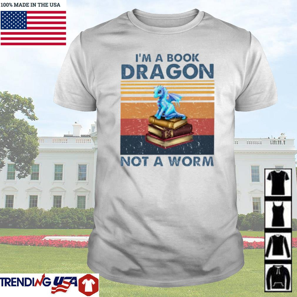 Vintage Blue dragon I'm a book dragon not a worm shirt