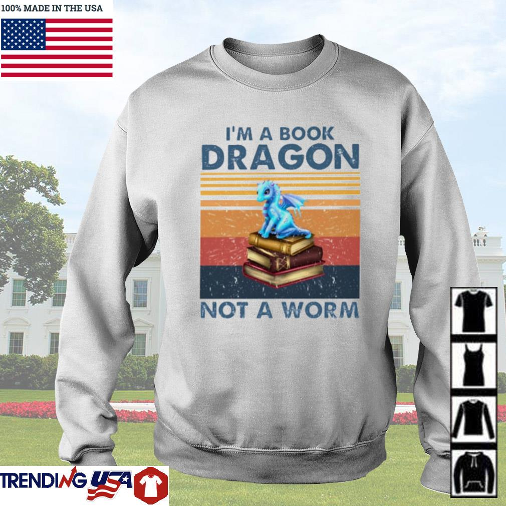Vintage Blue dragon I'm a book dragon not a worm s Sweater White