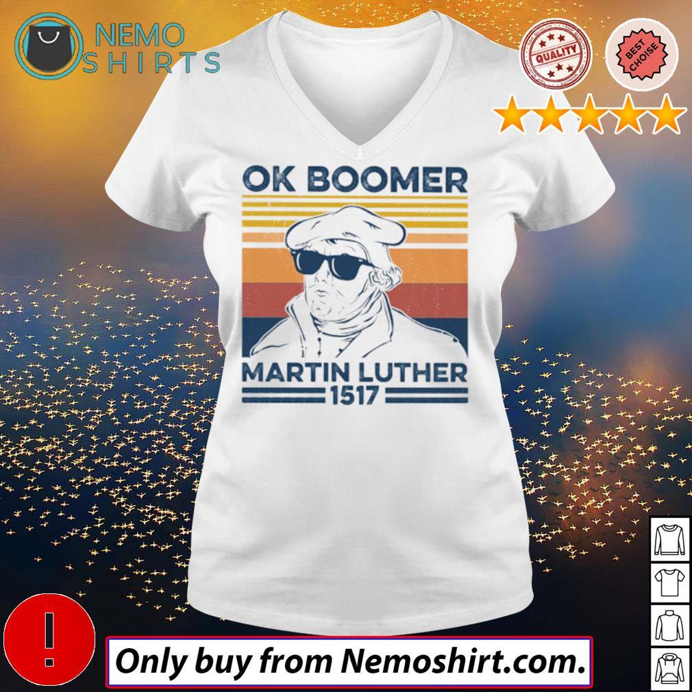 Vintage Professor Ok Boomer Martin Luther 1517 s V-neck white
