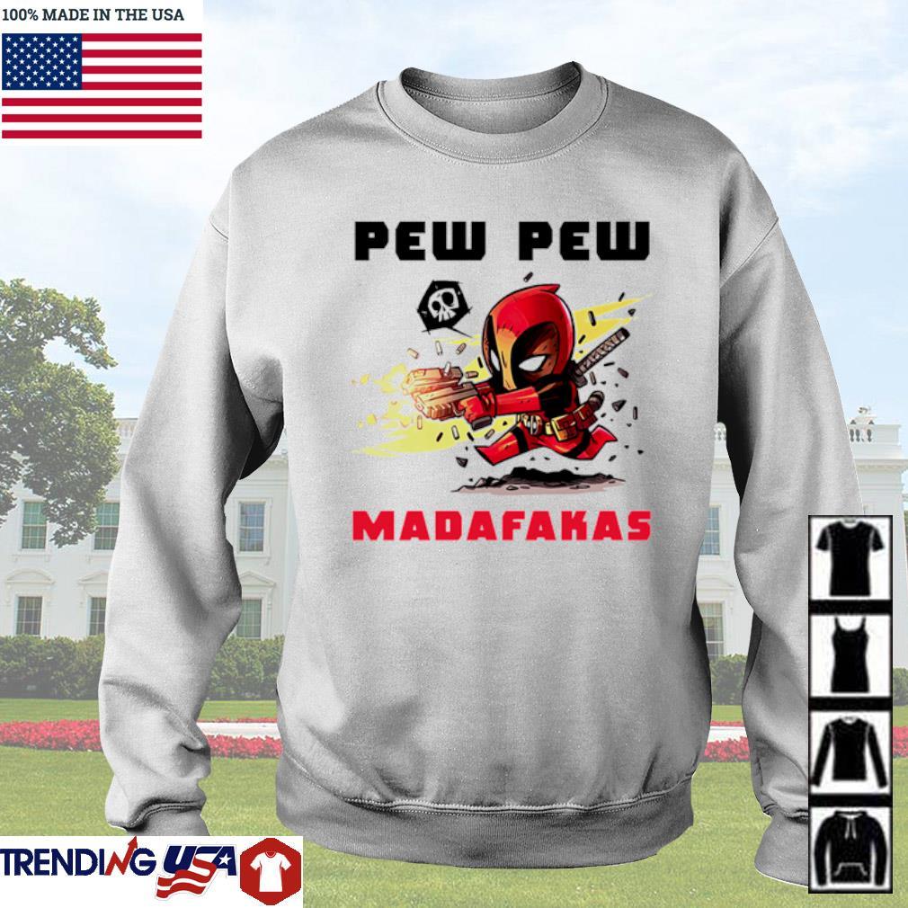 Deadpool hold guns pew pew madafakas s Sweater White