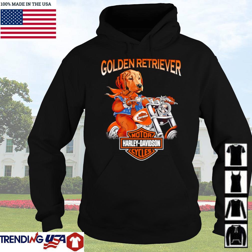 Golden Retriever riding motorcycle Motor Harley-Davidson cycles s Hoodie Black