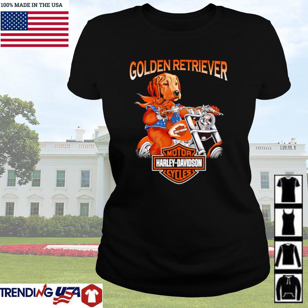 Golden Retriever riding motorcycle Motor Harley-Davidson cycles s Ladies Tee Black
