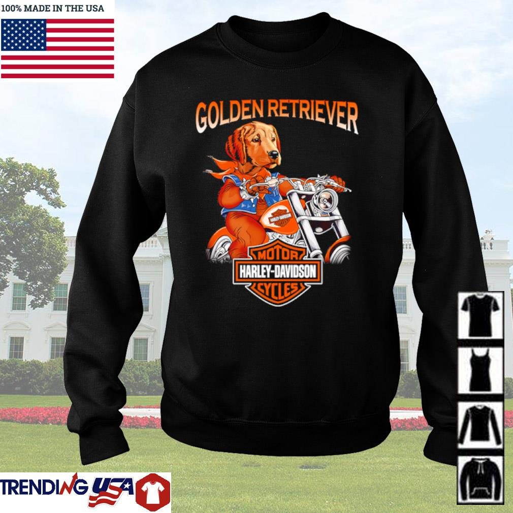 Golden Retriever riding motorcycle Motor Harley-Davidson cycles s Sweater Black