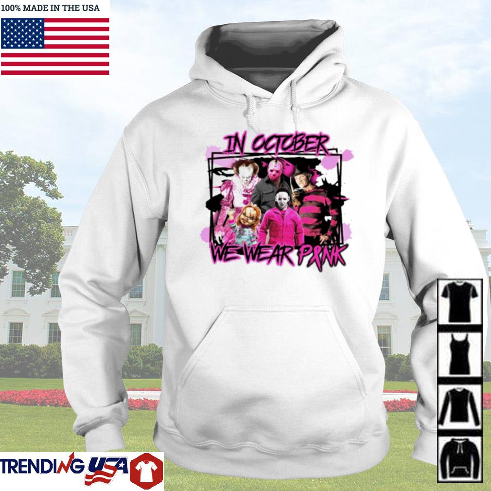Pennywise Horror characters movies in October we wear pink s Hoodie White