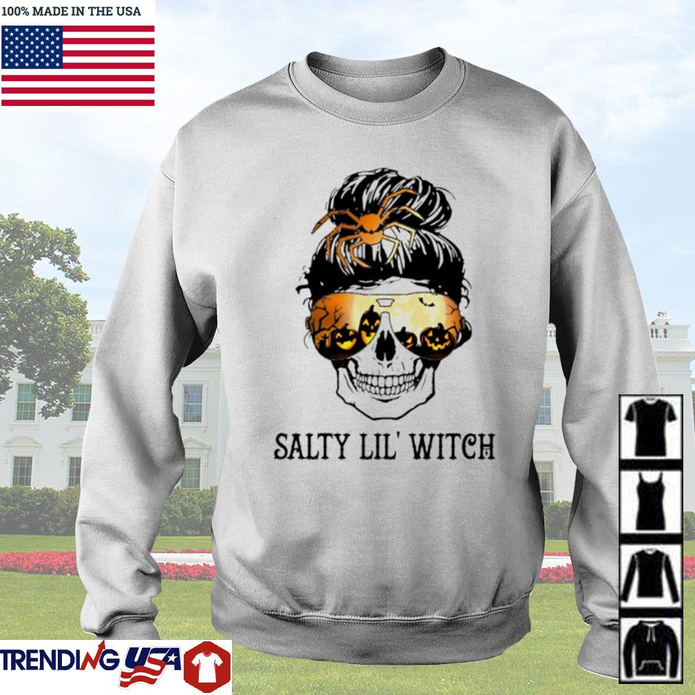 Skull wearing glasses Halloween Salty Lil' witch s Sweater White