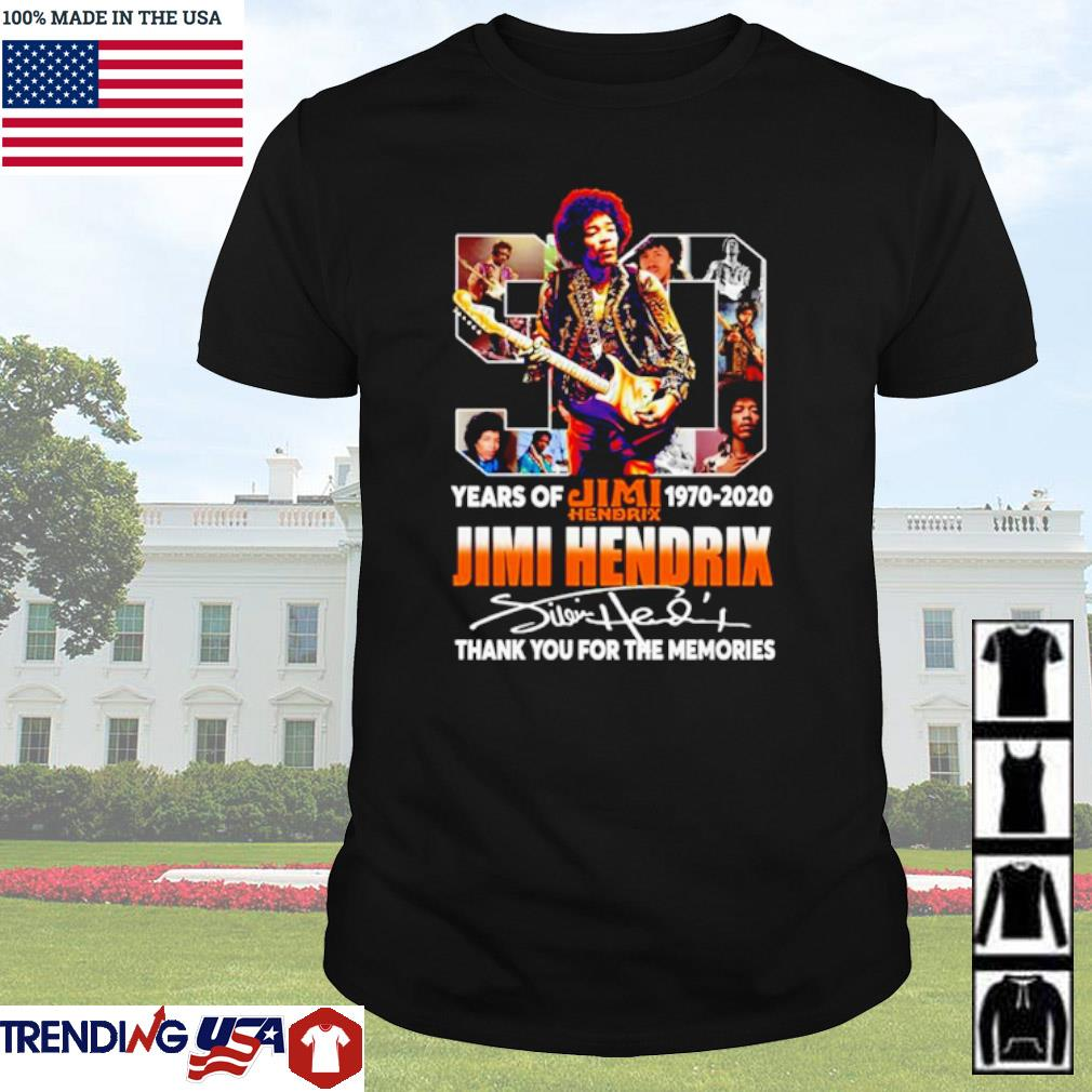 50 Years of Jimi Hendrix 1970-2020 thank you for the memories signature shirt