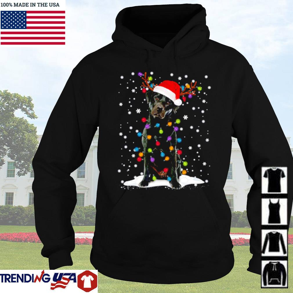 Black Lab Labrador Christmas tree reindeer snow sweater Hoodie
