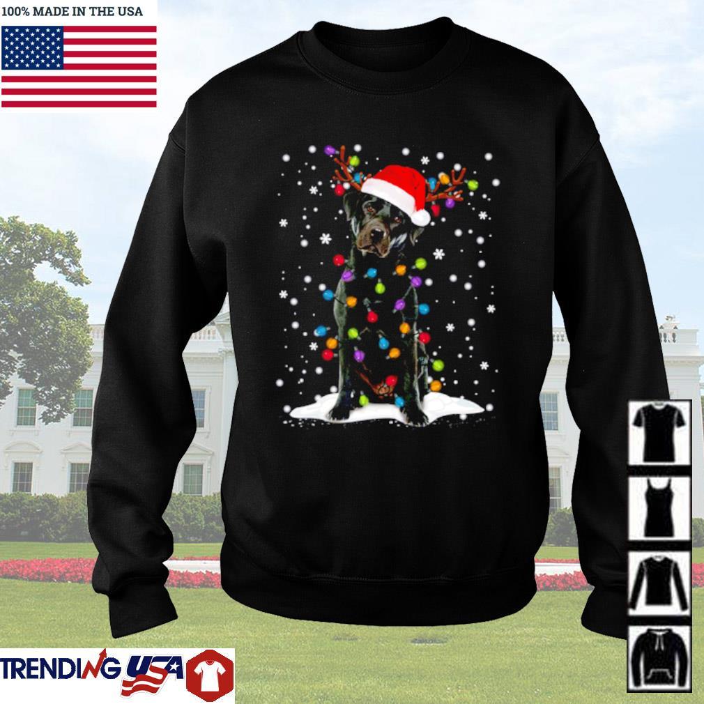 Black Lab Labrador Christmas tree reindeer snow sweater