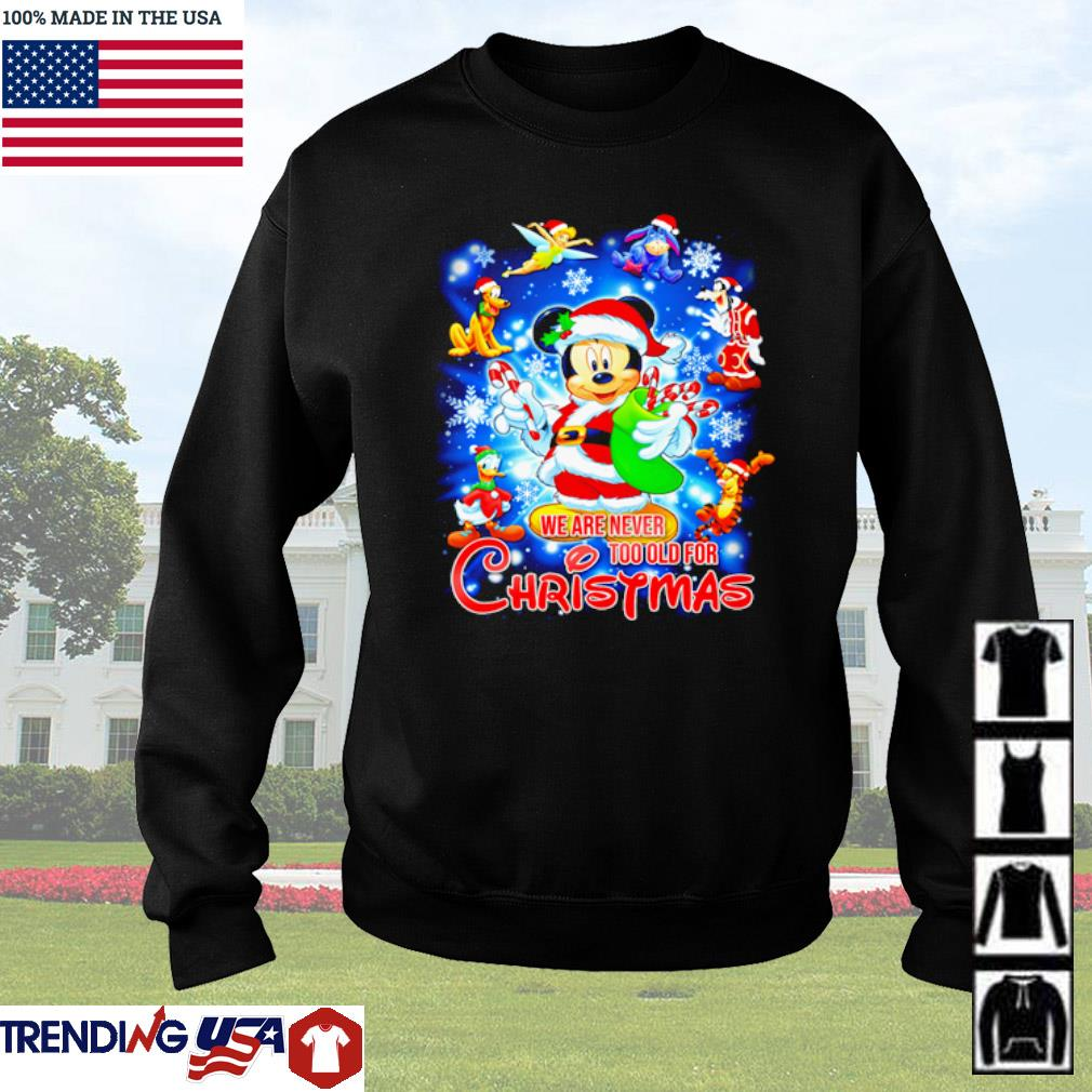 Disney Mickey Mouse Santa we are never too old for Christmas sweater