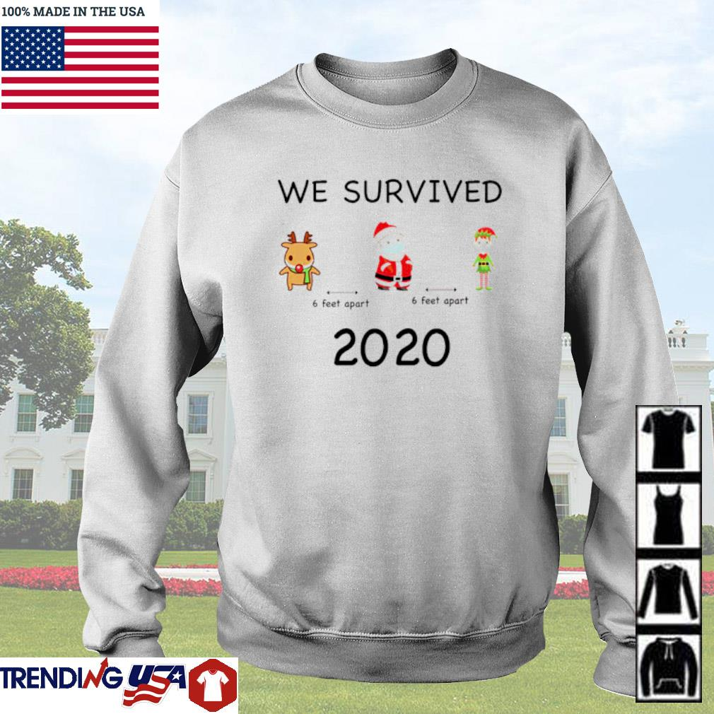 Reindeer Santa Claus and Elf we survived 6 feet apart 2020 Christmas sweater