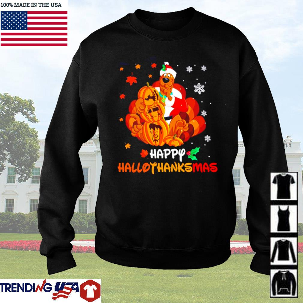Scooby-Doo pumpkin happy hallothanksmas Halloween Thanksgiving Christmas sweater