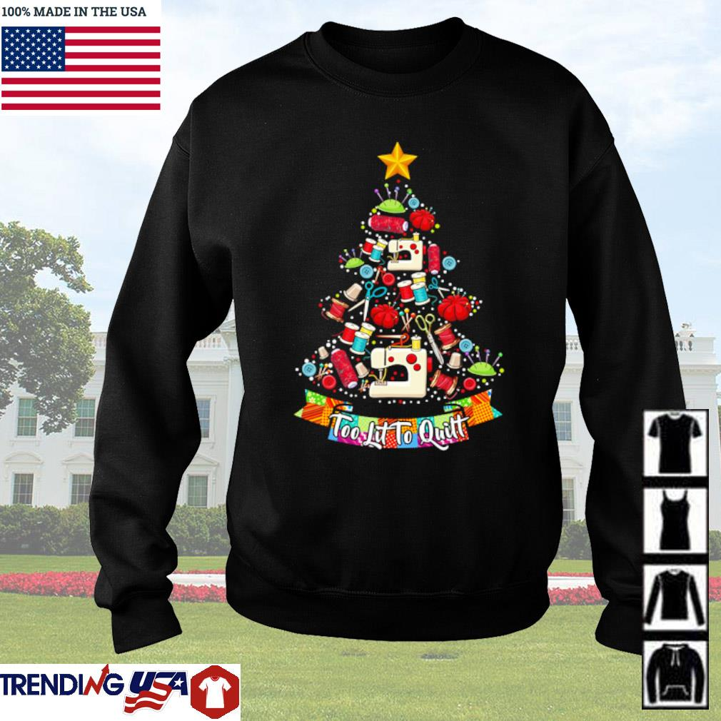 Quilting Christmas tree too lit to quitt sweater
