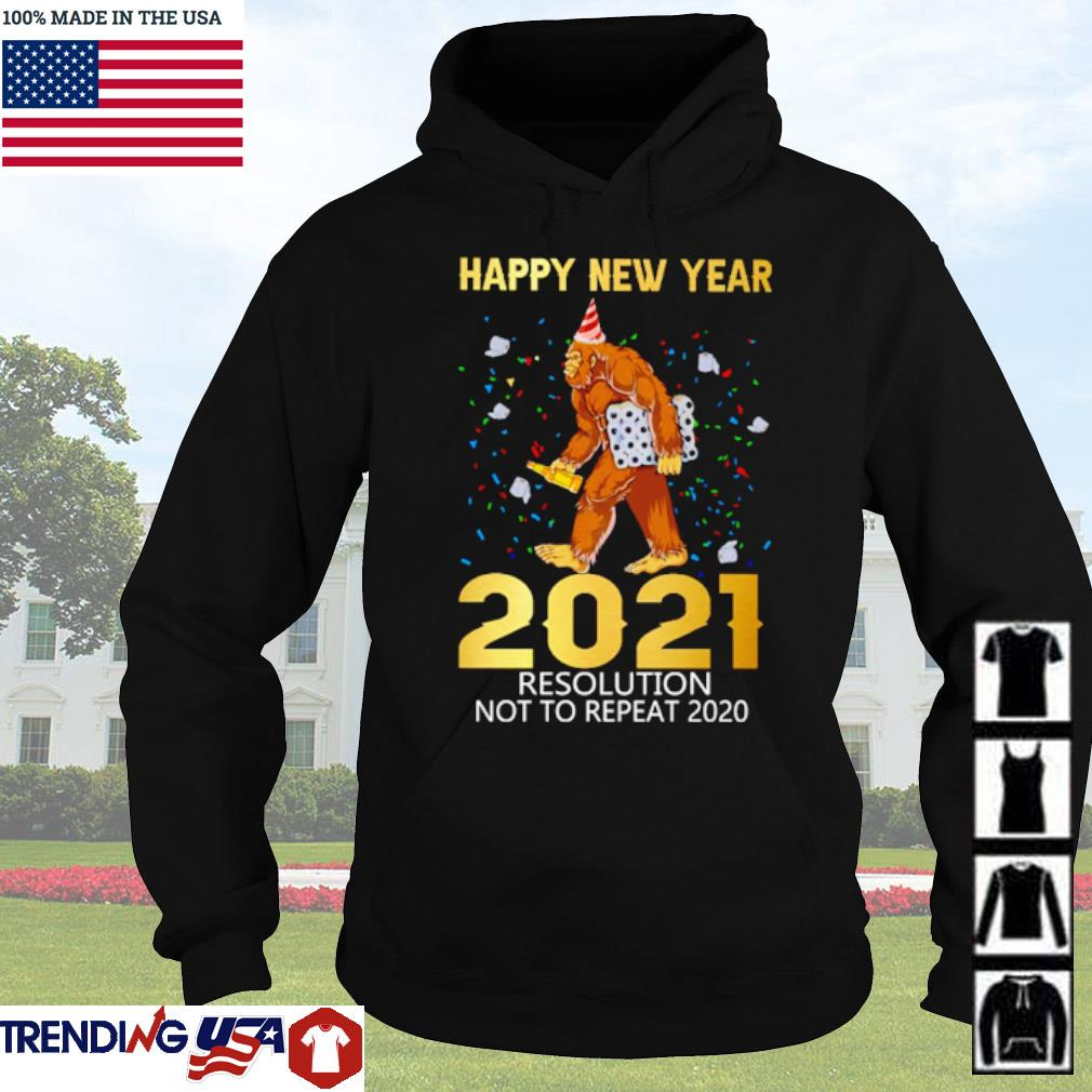 Bigfoot happy new year 2021 resolution not to repeat 2020 Christmas sweater Hoodie