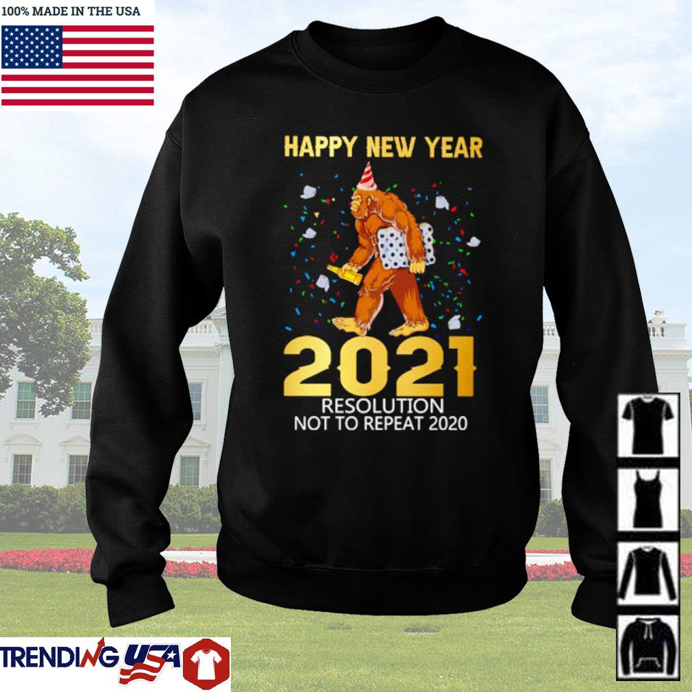 Bigfoot happy new year 2021 resolution not to repeat 2020 Christmas sweater