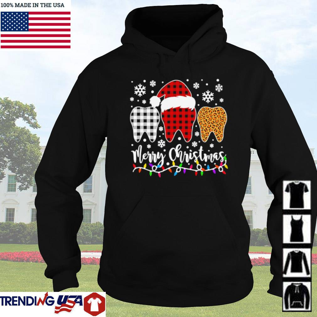 Red white and leopard buffalo plaid Santa tooth merry Christmas sweater Hoodie