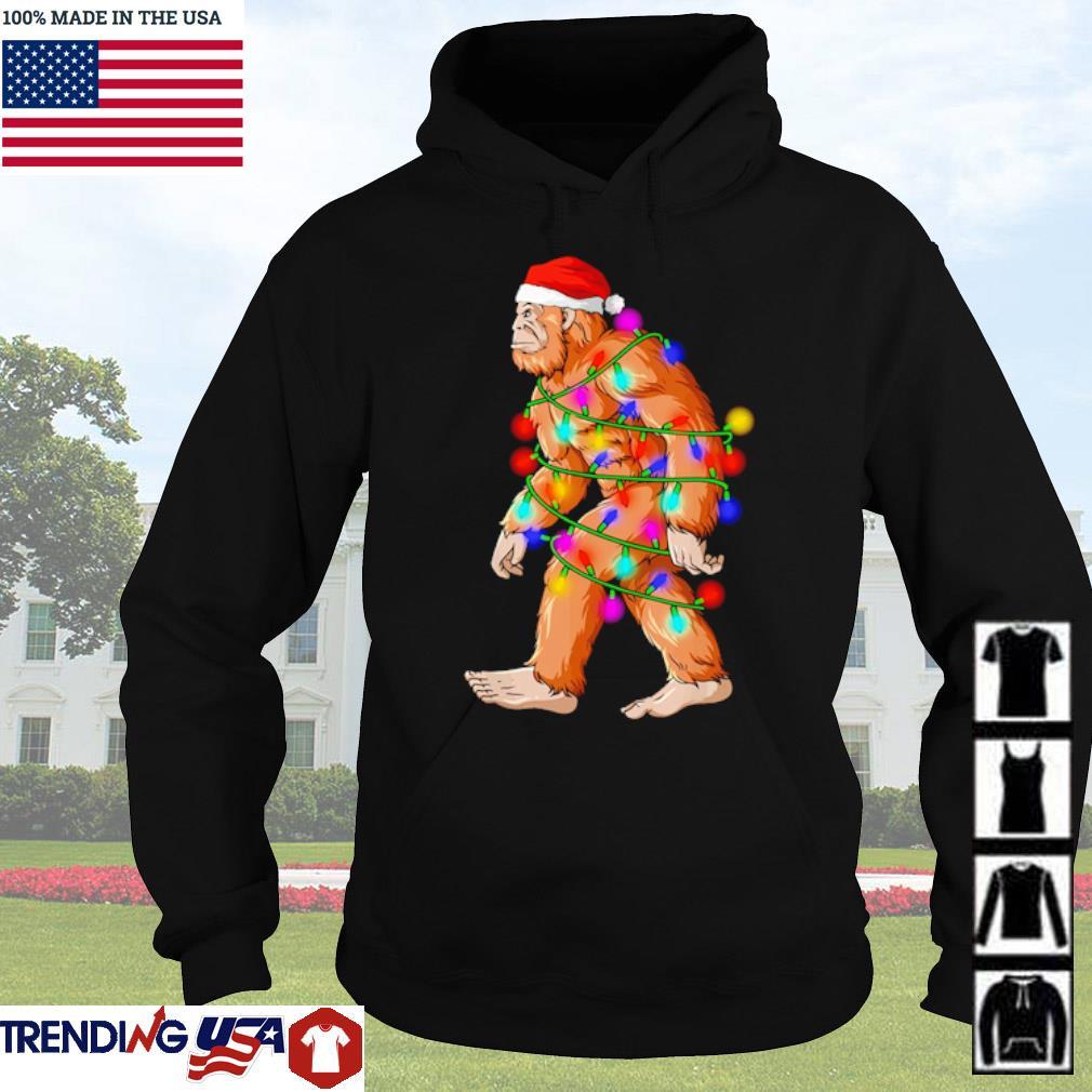 Santa bigfoot lights Christmas sweater Hoodie