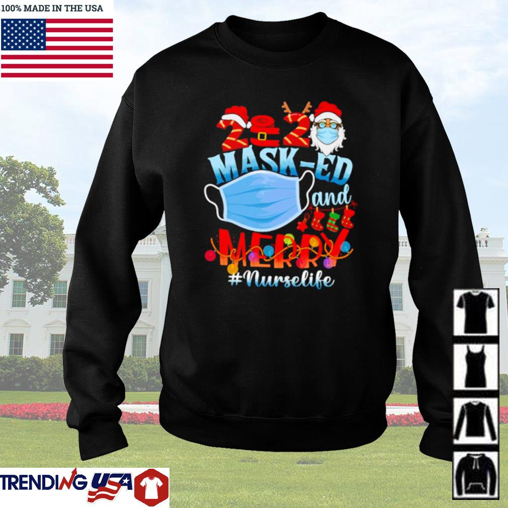 Santa Claus mask-ed and merry #nurselife Christmas sweater