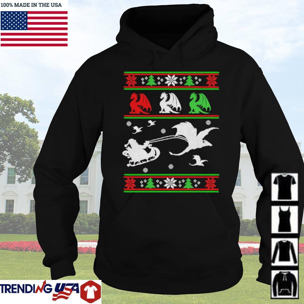 Santa Claus riding sleigh dragon ugly Christmas sweater Hoodie